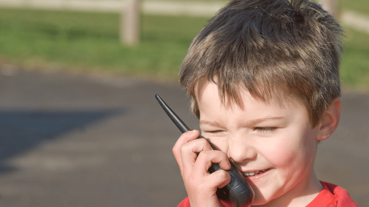 Child using two-way radio